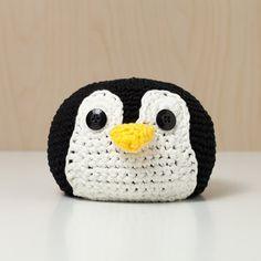 Türstopper gehäkelt Tierkopf Pinguin schwarz-weiß von MJUKstore