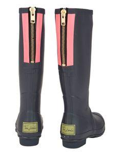 Steve Madden Tsunami Black Rubber Rain boots Red back zipper ...