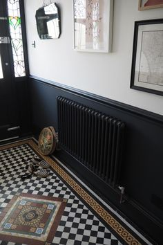 Affordable art and where to find it - The Frugality - Summertrends. Victorian Terrace Hallway, Edwardian Hallway, Edwardian House, Victorian Terrace Interior, 1930s House, Tiled Hallway, Hallway Flooring, Modern Hallway, Dark Hallway