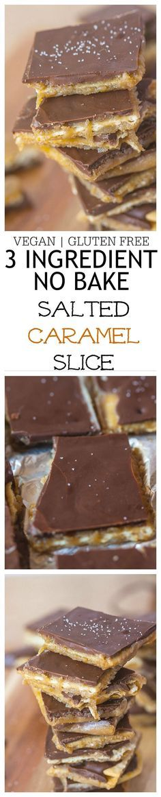 Just THREE ingredients and NO BAKING to make this Salted Caramel Slice which has a healthy option too! Ready in 10 minutes! {vegan, gluten free}