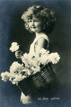 .Popular Edwardian Child Model w/ Basket of Flowers