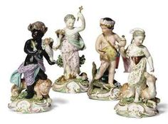 A SET OF FOUR DERBY FIGURES EMBLEMATIC OF THE CONTINENTS