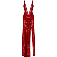 JENNY PACKHAM Red Flame All Over Sequined Gown With Open Back - $4.600 ❤ liked on Polyvore