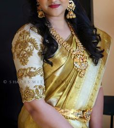 Saree and Blouse Designs Wedding Saree Blouse Designs, Best Blouse Designs, Pattu Saree Blouse Designs, Wedding Sarees, Wedding Blouses, Hand Work Blouse Design, Bollywood, Blouse Models, Indian Designer Wear
