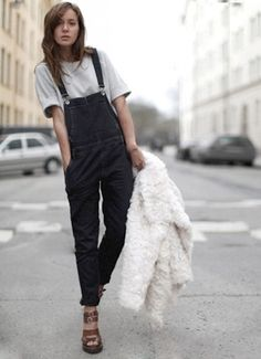 Oversized tee + black denim overalls + shaggy white coat