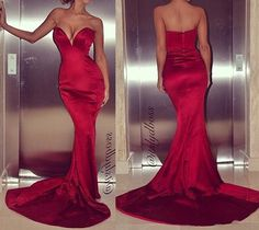 Sexy Red Strapless Mermaid Long Formal Pageant Party Prom Evening Dress Gowns | eBay