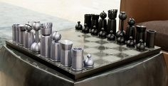 mid-century chess set in steel