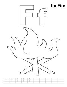 F for fire coloring page with handwriting practice