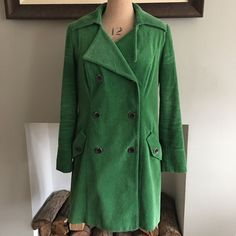 UK SIZE 12 WOMENS MARKS & SPENCER PER UNA GREEN CORDUROY COAT TRENCH #MarksSpencerPerUna #Trench #Casual