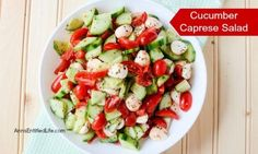 A beautiful and delicious take on a traditional Caprese Salad, this Cucumber Caprese Salad Recipe is a perfect side dish with steak, burgers, turkey legs, barbecue chicken and more! Easy to make, this Cucumber Caprese Salad recipe is loaded with sweet, fresh vegetables. Try it today!