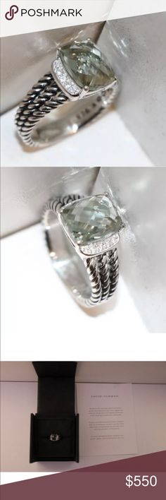David Yurman Diamond Prasiolite Petit Wheaton Ring David Yurman Diamond + Prasiolite Petite Wheaton Ring • Authentic David Yurman Wheaton Ring • Gorgeous light green prasolite gemstone + 0.08 total carat pave diamonds + Sterling silver. Size 6.5. Certificate of authenticity included. Original box not included. Professionally cleaned + polished. This ring is the Women's Petite Wheaton Ring. I have a larger Wheaton ring available in size 6 in a separate listing. David Yurman Jewelry Rings