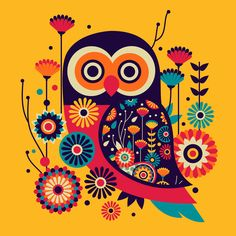 Shop Vibrant Abstract Owl Ceramic Tile created by Personalize it with photos & text or purchase as is! Madhubani Art, Madhubani Painting, Owl Art, Bird Art, Afrique Art, Indian Art Paintings, Owl Paintings, Owl Illustration, Art Diy