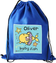 Personalise this Bang On The Door Baby Fish Swim Bag with a name using up to 12 characters.