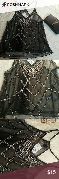 Sheer Beaded Vnck Tank Top Condition: New  100% Polyester  Made in India Angel   Tops Tank Tops