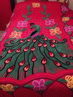 Vintage 1950's- Chenille Peacock and Floral Bedspread- Very Rare