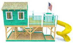 Back view of the playhouse playhouse plan Kids Playhouse Plans, Backyard Playhouse, Build A Playhouse, Backyard Playground, Ship Ladder, Toddler Playground, Wood Projects For Kids, Diy Projects, Floor Design