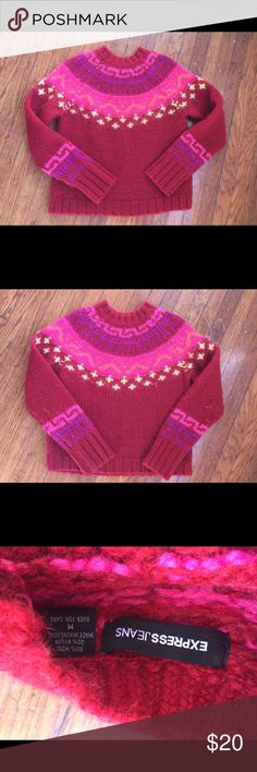 """VTG 90s red wool sweater long sleeve Vintage 90s wool sweater- Red- SZ M- front length 22"""" sleeve length 28"""" in good condition Express Sweaters Crew & Scoop Necks"""
