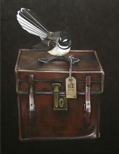 Piwakawaka's Case by Jane Crisp - prints Nz Art, Art For Art Sake, Art Maori, New Zealand Art, Coffee Poster, Kiwiana, Vintage Luggage, Bird Art, Cool Artwork