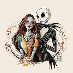 Jack e Sally Cute Disney Drawings, Cute Drawings, Jack Skellington Drawing, Nightmare Before Christmas Drawings, Inktober, Tim Burton Art, Jack Tim Burton, Arte Peculiar, Tim Burton Characters