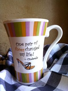 Shoe mug with quote