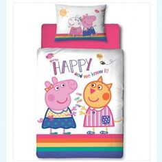 If your child is a fan of Peppa Pig, then they would probably love to have this Peppa Pig 'Hooray' junior duvet cover on their bed This junior duvet cover features Peppa Pig and Candy Cat on the duvet cover and the matching pillow case.