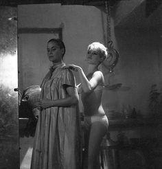"Brigitte Bardot on the set of ""The night heaven fell"", 1957"