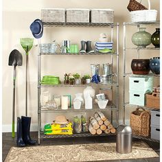 Echo 5 Tier Heavy Duty Chrome Wire Shelving in Chrome - Safavieh Heavy Duty Shelving, Shelving Racks, Garage Shelving, Wire Shelving, Pantry Storage, Storage Cabinets, Storage Spaces, Kitchen Storage, Pantry Closet