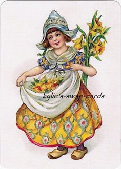 SD85 Pretty Lady Swap Playing Cards Mint Cond Dutch Girl Holding Daffodils | eBay
