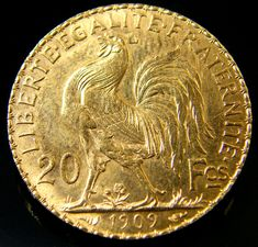 UNC FRANCE GOLD COIN ROOSTER 20 FRANCS 1909  CO 146  1909 french gold  coin ,france coins   rooster france