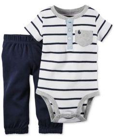 Carter's Baby Boys' 2-Pc. Striped Henley Bodysuit & Pants Set