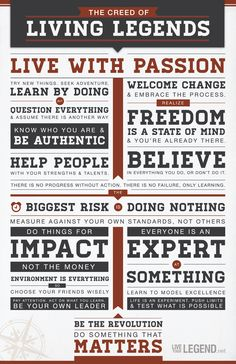 The Creed of Living Legends (21 Beliefs and Actions that Transform Who We Are) - something to think about.