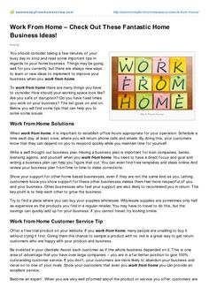 work-from-home-with-these-great-ideas by Bruno Bürgi via Slideshare Earn Money From Home, Articles, Writing, Business, Tips, Ideas, Store, Being A Writer, Business Illustration