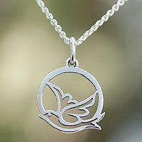 Hand Crafted Peace and Calm Sterling Silver Bird Necklace - Silver Jewelry Engraved Necklace, Silver Pendant Necklace, Pendant Jewelry, Bird Necklace, Craft Jewelry, Silver Earrings, Geek Jewelry, Collar Necklace, Jewelry Necklaces