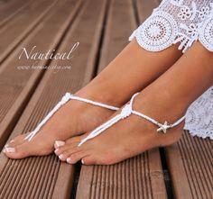 Nautical Bridal Foot jewelry-Rhinestone Starfish Beach por barmine