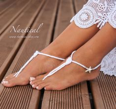 Beach wedding Rhinestone Starfish crochet barefoot sandals Feet thongs Bridal foot jewelry Bridesmaid barefoot sandals Bridal shoes Nautical