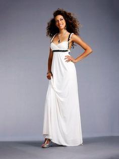 White Empire Long/Floor-length Empire Graduation Backless Prom Dress PD091E
