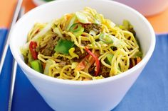 Stir-fried beef and vegetable chow mein  - easy to make and kid friendly. Just omit the red chilli if it's not your thing.