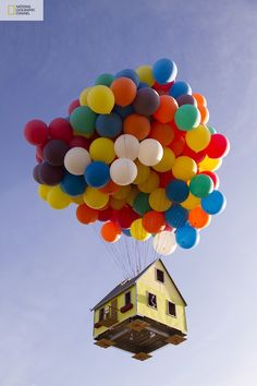 National Geographic created a real-life version of Pixar's animated film Up. National Geographic Channel and a team of scientists, engineers, and two world-class balloon pilots successfully launched a 16' X 16' house 18' tall with 300 8' colored weather balloons from a private airfield east of Los Angeles, and set a new world record for the largest balloon cluster flight ever attempted. It stands more than 10 stories high, reached an altitude of over 10,000 feet, and flew for approximately…