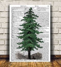 Amazing Pine tree poster. Gorgeous Antique print for your home and office…