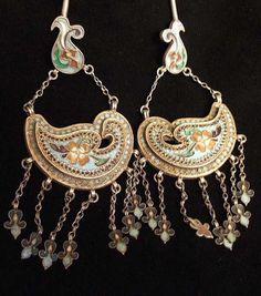 Uzbekistan   Earrings; silver and enamel. 'Bird' design, Bukhara    Sold
