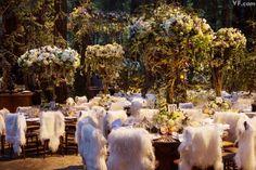 Sean Parker's Lavish Big Sur Wedding | Vanity Fair - love the furry chair backs!