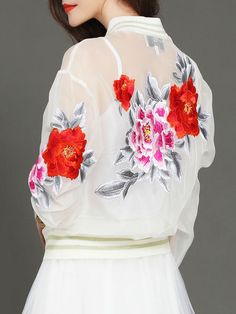 Embroidery Organza Bomber Jacket
