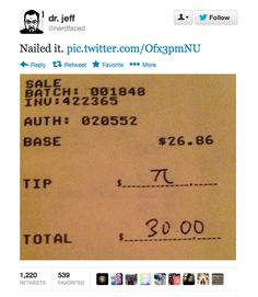 18 Ridiculously Geeky PiJokes in honor of Pi Day tomorrow :)
