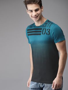 Buy HERE&NOW Men Teal Blue Dyed Round Neck T Shirt - Tshirts for Men 7546899   Myntra T Shirt Swag, T Shirt Diy, Best T Shirt Designs, Tee Shirt Designs, T Shirt Custom, Polo Design, Graphic Tee Outfits, Shirt Print Design, Camisa Polo