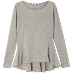 Autumn Cashmere Grey Cashmere Peplum Jumper (315 BRL) ❤ liked on Polyvore featuring tops, sweaters, clothing - torso, shirts, gray jumper, cashmere sweater, gray shirt, grey sweaters and cashmere peplum sweater