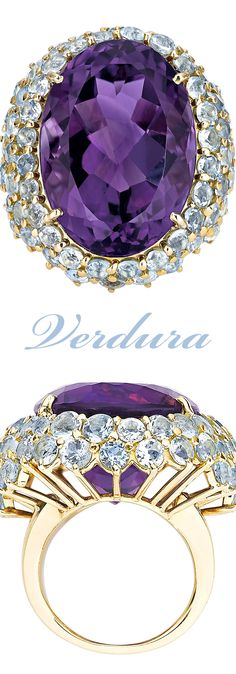 A monumental 45.77-carat amethyst is at the center of this ring by celebrated jeweler Verdura ~ M.S. Rau Antiques
