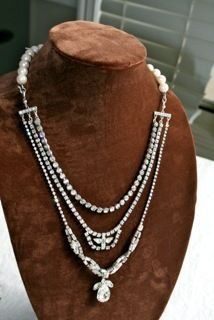 """A """"new"""" necklace made from old rhinestone jewelry..."""