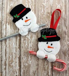 Snowman Candy Cane Holder Ornament and Pencil Holder