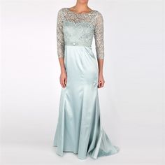 Adrianna Papell Satin Gown with Lace Bodice #VonMaur #AdriannaPapell #Mist #Sheer #Dress #ThreeQuarterSleeves