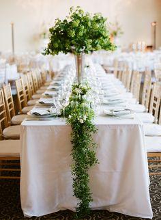 #green #garland #centerpieces Photography: Josh Gruetzmacher Photography - joshgruetzmacher.com, Florals by http://michaeldaigian.com/ Read More: http://stylemepretty.com/2013/10/01/san-francisco-modern-wedding-from-josh-gruetzmacher/